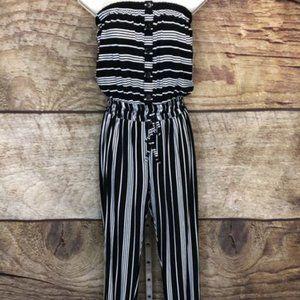 Ardene Small Black Striped Strapless Jumpsuit NWOT